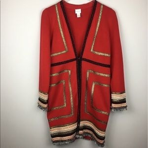 Chico's Long Cardigan Red with Metallic Detail